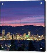 City Of Portland Oregon Skyline At Twilight Acrylic Print