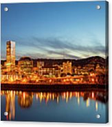 City Of Portland Skyline Blue Hour Panorama Acrylic Print