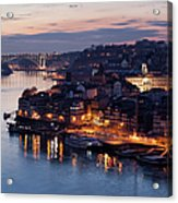 City Of Porto In Portugal At Dusk Acrylic Print