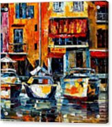 City Pier - Palette Knife Oil Painting On Canvas By Leonid Afremov Acrylic Print