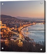 Cityscape Of Budapest, Hungary At Night And Day Acrylic Print