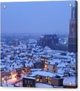 Cityscape Of Utrecht With The Dom Tower  In The Snow 13 Acrylic Print