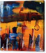 Cityscape On Orange Acrylic Print