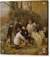 Claiming The Shot - After The Hunt In The Adirondacks Acrylic Print by John George Brown