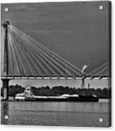 Clark Bridge And Barges In Black And White  Acrylic Print