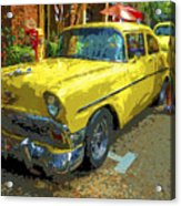 Classic 56 Chevy Car Yellow  Acrylic Print