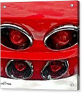 Classic Car Tail Lights Reflection Acrylic Print