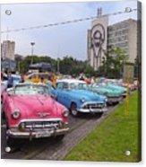 Classic Cars In Revolutionary Square Cuba Acrylic Print