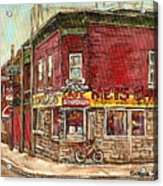Classic Chinese Restaurant Montreal Memories Silver Dragon Canadian Paintings Carole Spandau         Acrylic Print