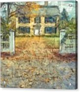 Classic Colonial Home In Autumn Pencil Acrylic Print