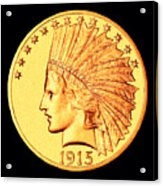 Classic Indian Head Gold Acrylic Print