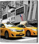 Classic Street View Of Yellow Cabs In New York City Acrylic Print