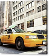 Classic Street View With Yellow Cabs In New York City Acrylic Print