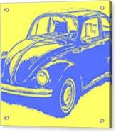 Classic Vw Beetle Tee Blue Ink Acrylic Print