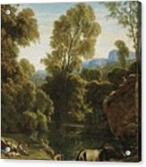 Classical Landscape With Figures By A Lake Acrylic Print