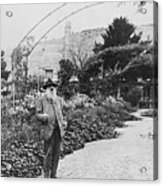 Claude Monet In His Garden Acrylic Print
