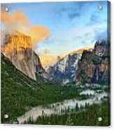 Clearing Storm - View Of Yosemite National Park From Tunnel View. Acrylic Print