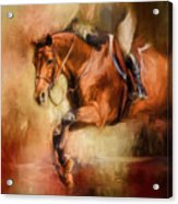 Clearing The Jump Equestrian Art Acrylic Print