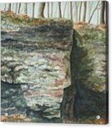 Cleft.  Rock Shelf Fissure And Autumn Leaves Acrylic Print
