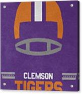 Clemson Tigers Vintage Football Art Acrylic Print