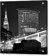 Cleveland Black And White Panoramic Acrylic Print