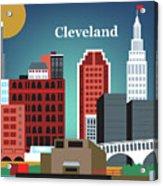 Cleveland Ohio Horizontal Skyline Acrylic Print