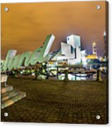 Cleveland Sign At Voinovich Park Acrylic Print