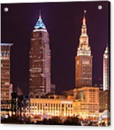 Cleveland Skyline Night Color - Downtown Buildings Acrylic Print