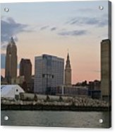 Cleveland Skyline And Port On The Cuyahoga River Acrylic Print