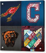 Cleveland Sports Fan Recycled Vintage Ohio License Plate Art Cavaliers Indians Browns And State Map Acrylic Print