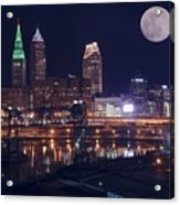 Cleveland With Full Moon Acrylic Print