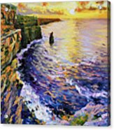 Cliffs Of Moher At Sunset Acrylic Print by Conor McGuire