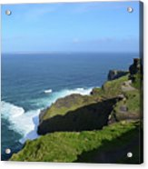 Cliff's Of Moher With White Water At The Base In Ireland Acrylic Print