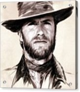 Clint Eastwood Portrait Acrylic Print by Wu Wei