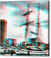 Clipper City - Use Red-cyan 3d Glasses Acrylic Print