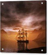 Clipper Ship At Sunset Acrylic Print