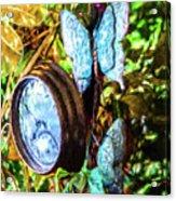 Clock And Butterflies R1 3580vt - Photo Art Acrylic Print