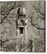 Clock Tower In Black And White Acrylic Print