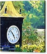 Clock Tower In The Garden Acrylic Print
