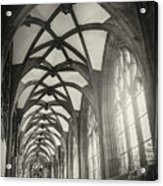 Cloisters Of Basel Munster Switzerland In Black And White  Acrylic Print