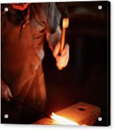 Close-up Of  Blacksmith Forging Hot Iron Acrylic Print