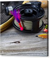Close Up Of Fly Reel With Fly Jig Hanging From Spool  Acrylic Print