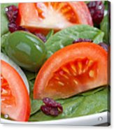 Close Up Of Fresh Spinach Salad On White Plate  Acrylic Print