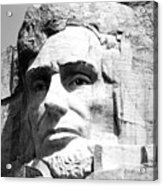Close Up Of President Abraham Lincoln On Mount Rushmore South Dakota Black And White Acrylic Print