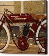 close up of red Indian motorcycle   # Acrylic Print