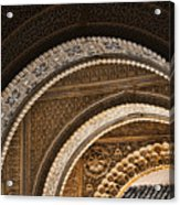 Close-up View Of Moorish Arches In The Alhambra Palace In Granad Acrylic Print by David Smith