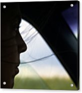 Close View Of A Woman Driving A Car Acrylic Print