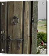 Close View Of A Wooden Door On A Villa Acrylic Print
