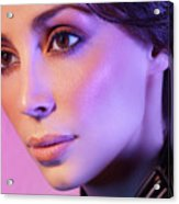 Closeup Beauty Portrait Of Woman Face In Colored Purple Light Acrylic Print