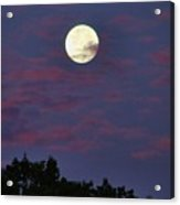 Closeup Moonset In Colorful Clouds Acrylic Print